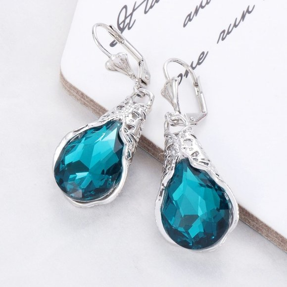 Cherryl's Jewelry - Teal Filigree Wrapped Faceted Crystal Drop Earring